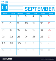 September 2015 Calendar Page Template Royalty Free Vector