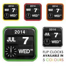 myhaus retro square auto calender flip clock white