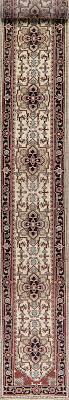 ivory geometric heriz oriental wool runner rug 3x20