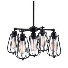 zuo porirua 5 light distressed black ceiling lamp