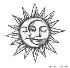 太陽と月モノクロのイラスト素材 16567911 Pixta