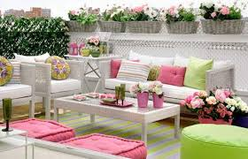 bright pink and green colors for outdoor home decorating in