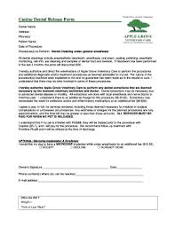 Fillable Online Canine Dental Release Form - Apple Grove Veterinary ...