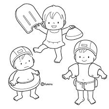 水着プールに入る子供たちぬりえ 子供と動物のイラスト屋さん