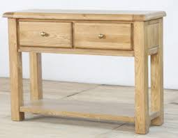 the genoa oak two drawer console table