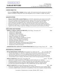 Resume For Office Assistant Medical Office Administrative Assistant Sample Resume Objective 18