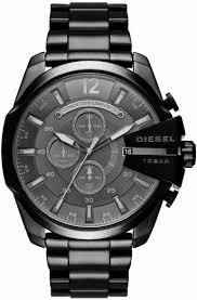 men s black diesel mega chief chronograph watch dz4355