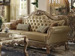 gold leather sofa newest gold leather sofa dresden wood trim patina acme with medium image