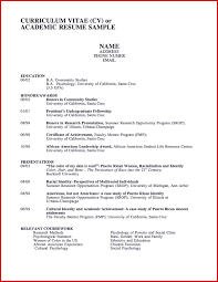 American Curriculum Vitae Format Sample Academic Curriculum Vitae 006 Template Ideas Samples