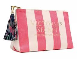 details about victoria s secret pink striped tropical cosmetic makeup beauty bag