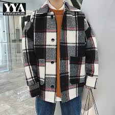 new super popular 2018 new autumn winter male casual coat fashion plaid lapel collar wool blend