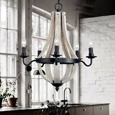 vega rustic reclaimed wood black metal wine barrel stave chandelier with candle light