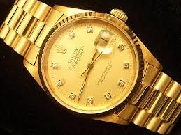mens rolex datejust 18k yellow gold watch w gold diamond dial fullview