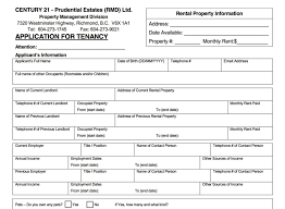Application Form For Rental Rental Forms Documents Century 21 Prudential Estates