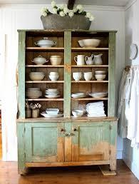 kitchen design rustic swivel antique hutch featuring mint open shelf