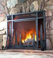 sliding fireplace screen tree of life fire with door the symbolizes pertaining stained glass sl