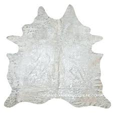 silver print cowhide rug image 1 black and off white with star metallic