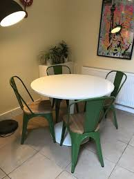 Docksta White Round Kitchen Table 6 Industrial Style Chairs In