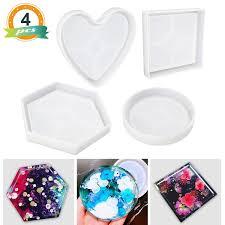 <b>Flower Pot</b> Holders Heart Shape Mold 4Pcs Shiny <b>Resin</b> Casting ...