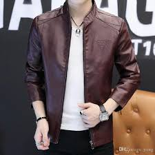 men s leather motorcycle jacket autumn korean style slim new handsome autumn and winter pu leather jacket male