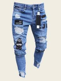 Black Friday 2020 | Guys <b>Letter</b> & <b>Cartoon</b> Patched Ripped Jeans ...