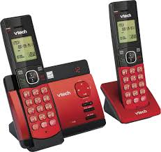 vtech cs5129 26 dect 6 0 expandable cordless phone system with digital answering system black red