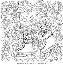 Adult Coloring Book Pages Winter Girl Skates Winter Snowflakes Stock