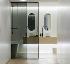 luxury sliding door bathroom in dark glass transpa with black frame bathroom design door