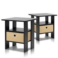 furinno home living espresso storage end table set of 2 2 11157ex