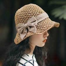 Hat girl summer small fresh sun hat straw hat small edge fisherman's ...