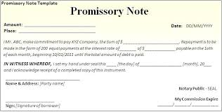 Promissory Note Format Letter Sample For School Documents