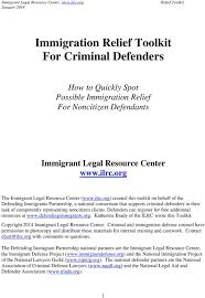 Immigration Relief Toolkit For Criminal Defenders Pdf Free