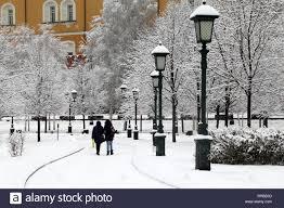 Snowfall Blizzard Lights Snowfall In Moscow People Walking In Alexander Garden