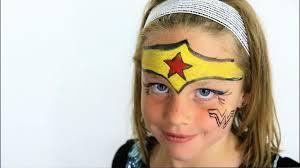 Face Painting Superheroes Design Diy Kids Face Paint Cute Super Hero Face Paint Wonder Woman Kids Super Hero Face Paint