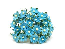 Daisy Paper Flower 1cm Turquoise Paper Daisies Mulberry Paper Flowers Miniature Flowers For Crafts Mulberry Paper Daisy Paper Flower Artificial Flowers 50 Pieces