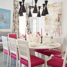 white dining chairs with hot pink seats design ideas within inspirations 11