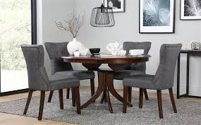 gallery hudson round dark wood extending dining table and 4 chairs set bewley slate