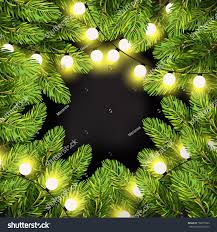 Holiday Branches With Lights Christmas Lights On Pine Branches Garland Stock Vector