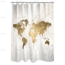 Mapamundi White Gold Shower Curtain Oliver Gal