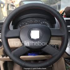 2007 Vw Jetta Steering Wheel Light Xuji Black Genuine Leather Steering Wheel Cover For