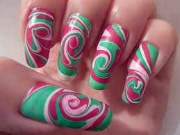 Christmas Xmas Swirl Spiral Water Marble Nail Art Design L… | Flickr