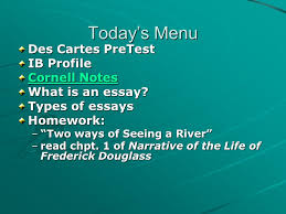 today s menu des cartes pretest ib profile cornell notes cornell  today s menu des cartes pretest ib profile cornell notes cornell notes what is an essay