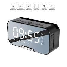 Bluetooth 5.0 hoparlör taşınabilir kablosuz saat ayna ses sistemi 3D Stereo  müzik Surround desteği TF AUX FM radyo müzik çalar|Portable Speakers
