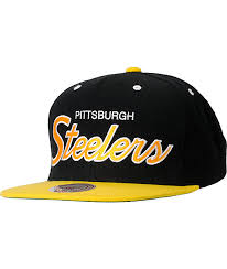 And Nfl Pittsburgh Snapback Hat Ness Script Steelers Zumiez Mitchell