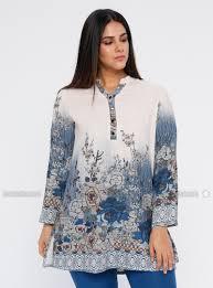 Collar Style Neck Design Blue Multi Crew Neck V Neck Collar Plus Size Tunic