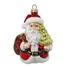 Christbaumschmuck Weihnachtsmann Mit Weihnachtsbaum 11cm Glas Handarbeit Mundgeblasen Handbemalt Weihnachtskugeln Baumkugeln Baumschmuck Lüstig