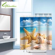 2019 seascape sea beach printed shower curtains bathroom curtain waterproof fabric shower curtain seashell starfish bathroom s from caley