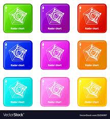 Radar Chart Illustrator Radar Chart Icons Set 9 Color Collection