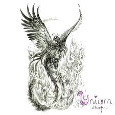 Velké Dočasné Tetování Ohnivý Fénix