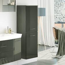 Badezimmer Hochschrank In Dunkelgrau Hochglanz Hängend